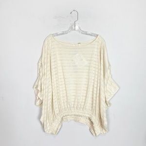 Free People | crochet eyelet batwing pullover top